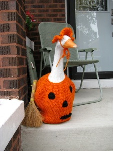 The Goose in question, dressed for Halloween
